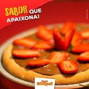 PIZZA BROTO NUTELLA COM MORANGO